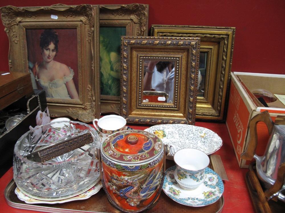 Lot 6 - Three Modern Prints and a mirror, glass fruit bowl, apostle spoons, various ceramics, samurai