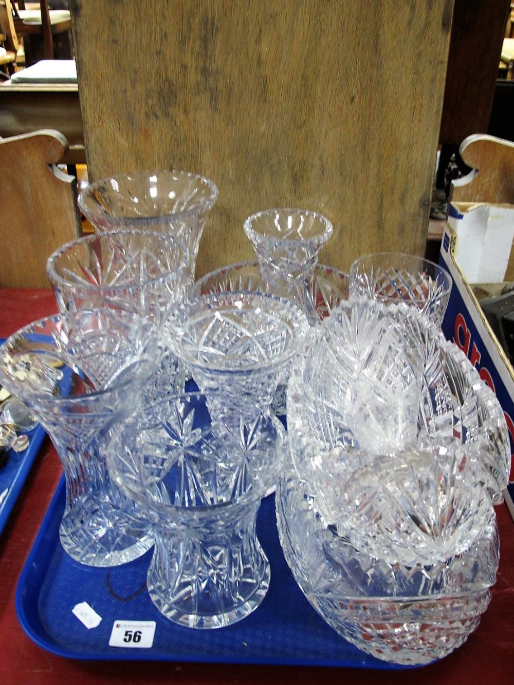 Lot 56 - Lead Crystal Waisted Vases, oval bowls, commemorative goblet, etc:- One Tray