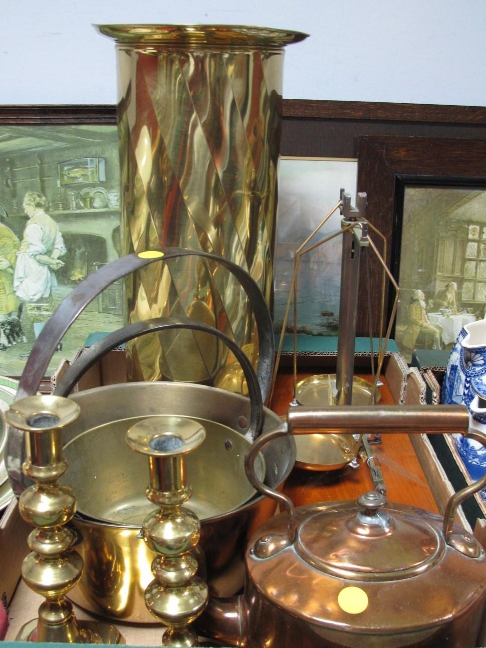Lot 41 - Philip Harris Balance Scales, copper kettle, brass jam pans, stick stand, candlesticks:- One Box