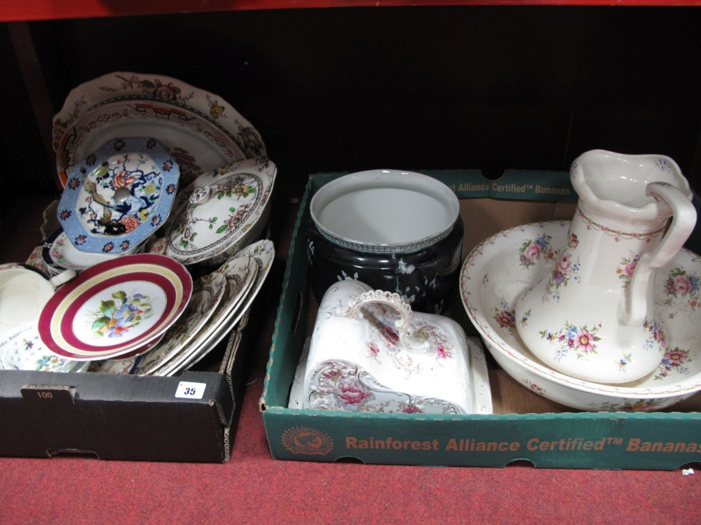 Lot 35 - A Reproduction Victorian Style Wash Jug and Bowl, Victorian semi porcelain cheese dish and cover,