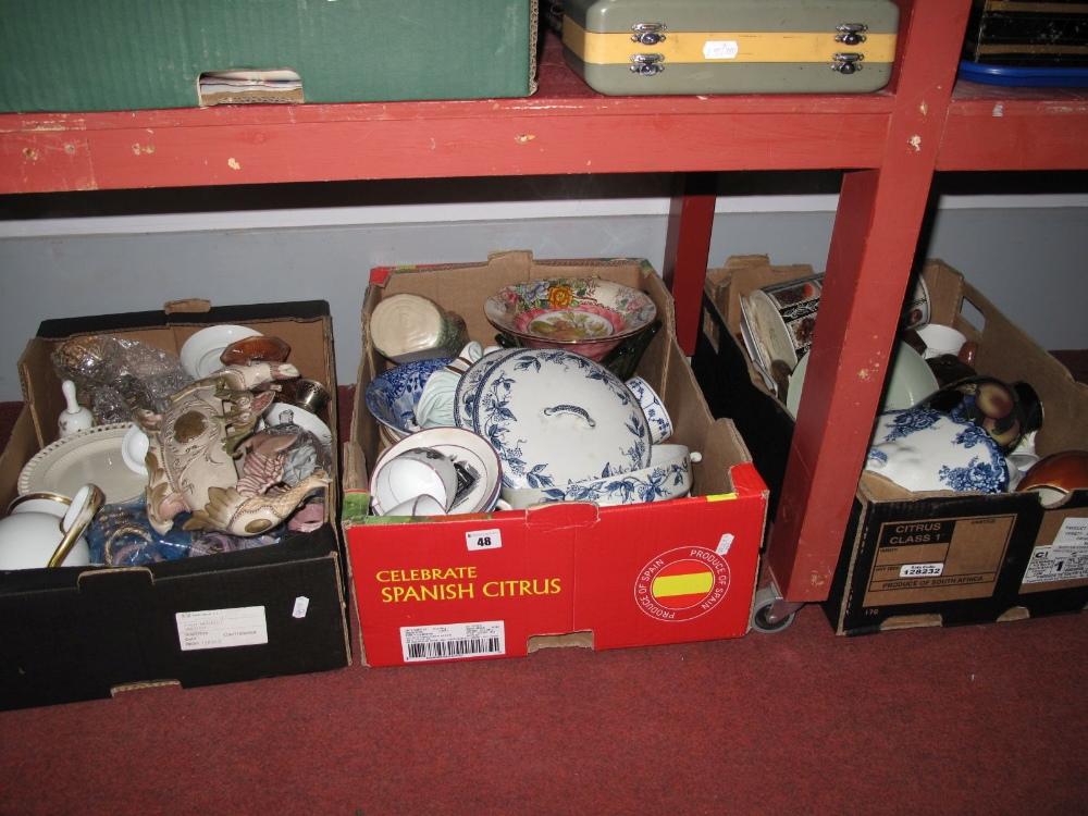 Lot 48 - A Quantity of Ceramics, glassware (some damages):- Three Boxes