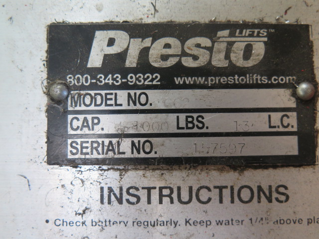 Presto mdl. C62 1000 Lb Cap Electric/Hydraulic Pallet Mover s/n 157597 - Image 3 of 3