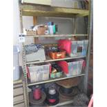 Electrical Wire and Misc w/ Shelf and Cabinet