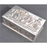 19TH CENTURY SILVER PLATED CAVORTING CHERUB BOX