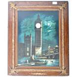AN UNUSUAL 20TH CENTURY LACQUERED PRINT PAINTING WALL CLOCK