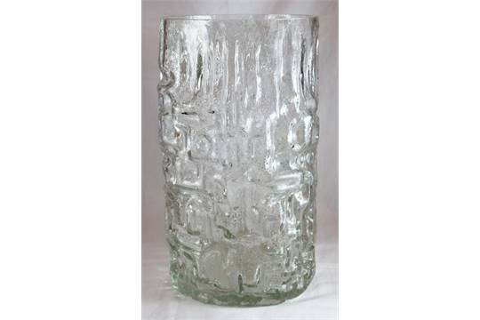 Large Iceberg Glass Vase With Geometric Shapes In High Relief