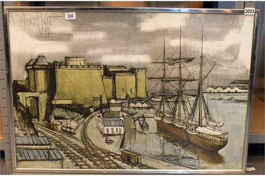 Fabulous Bernard Buffet Litho Print Brest Le Chateau The Castle And Home Interior And Landscaping Ologienasavecom