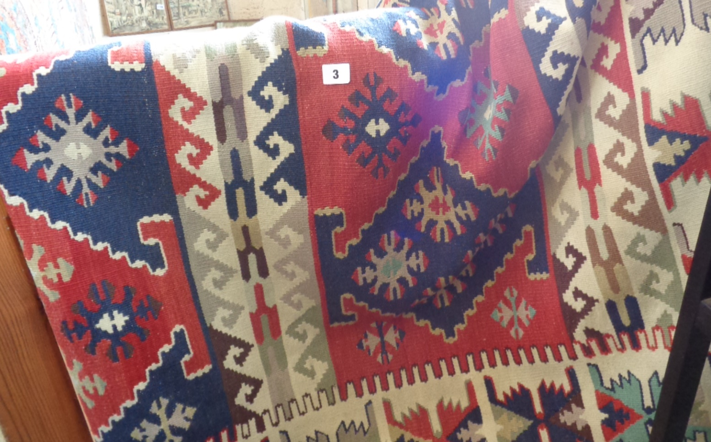 "Lot 3 - Contemporary Kelim carpet, approx 52"" x 84"""