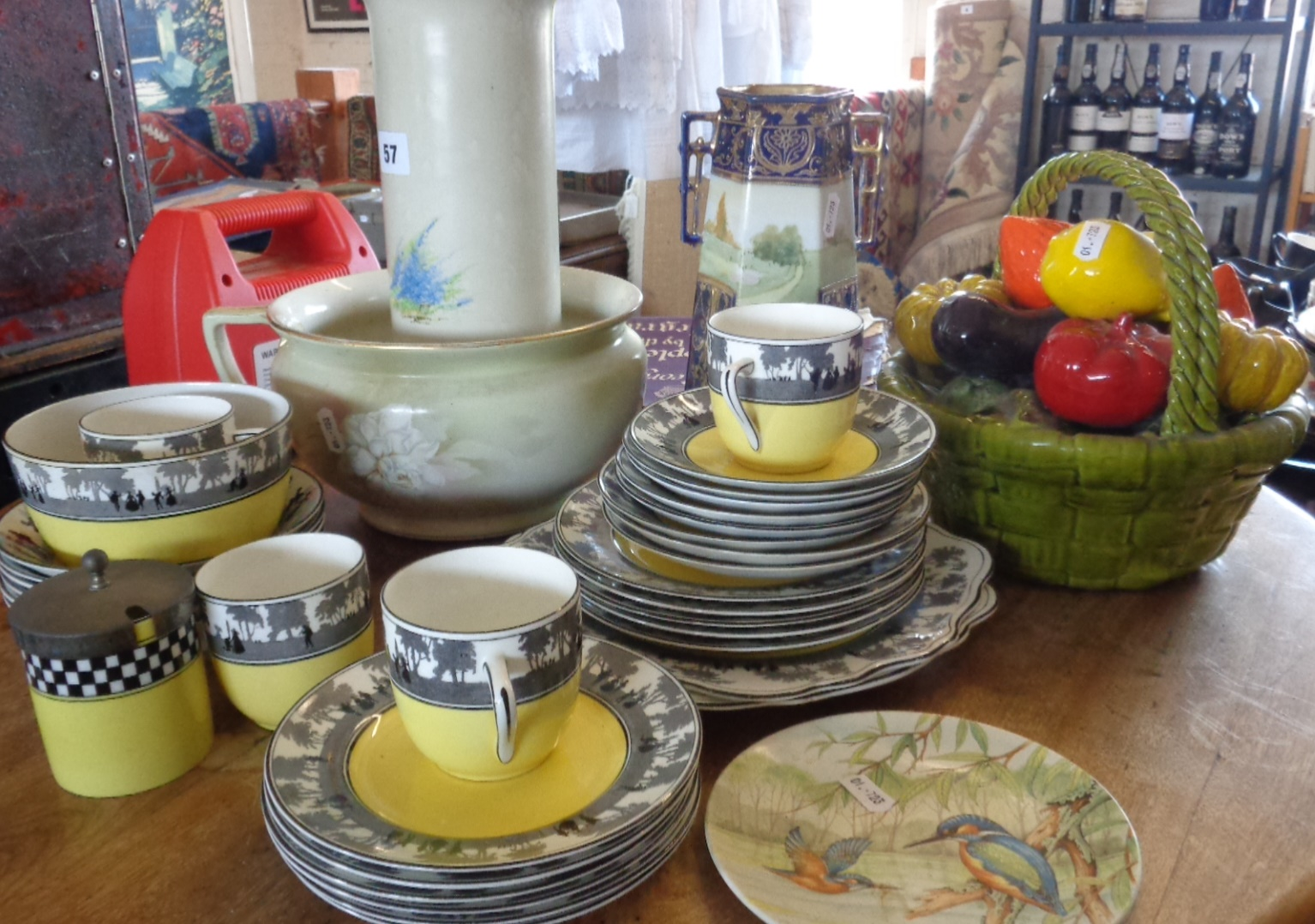 Lot 57 - Art Deco ceramics, Foley china Silhouette pattern tea ware, Hanley vase, etc