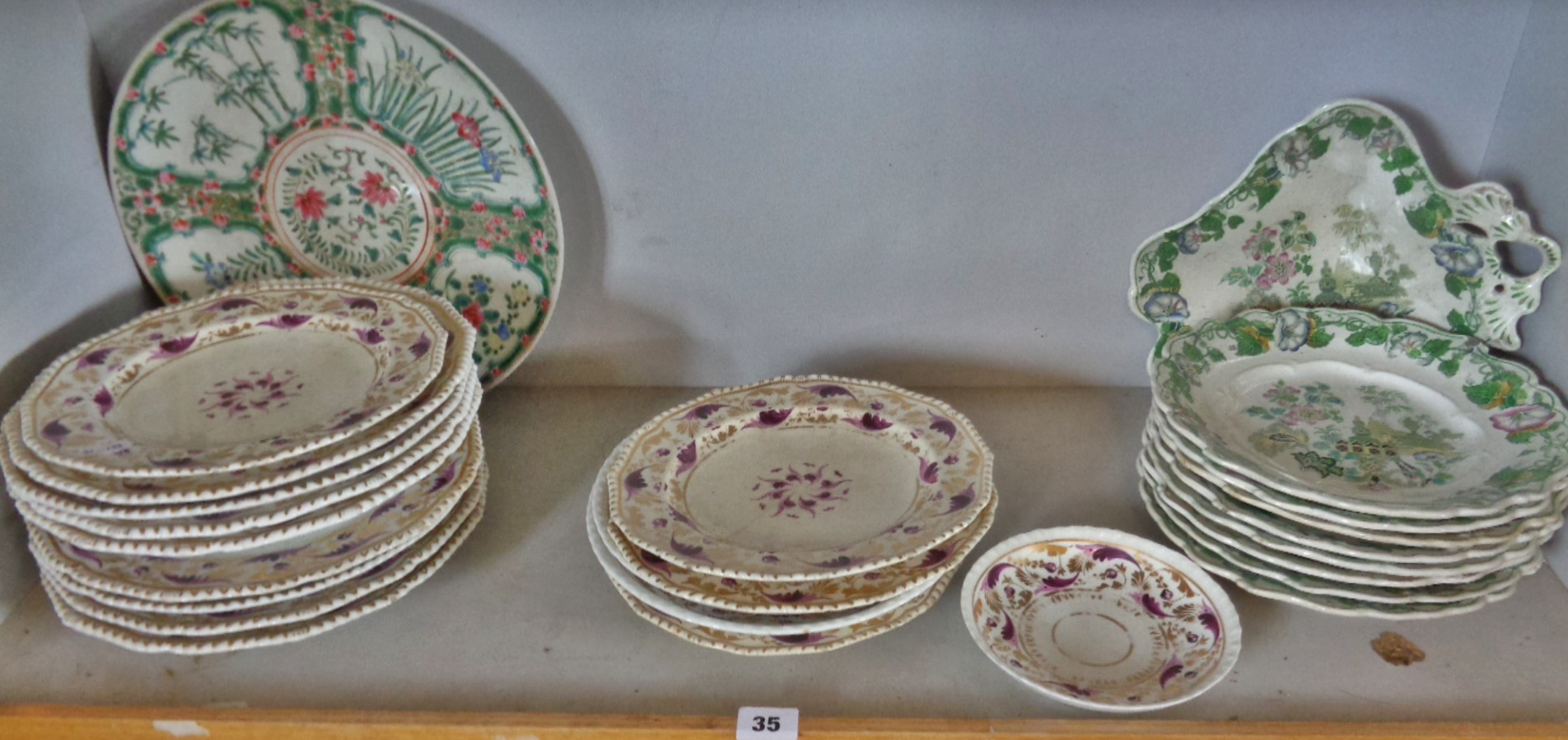 Lot 35 - Early 19th c. Royal Crown Derby plates, etc. (some A/F)