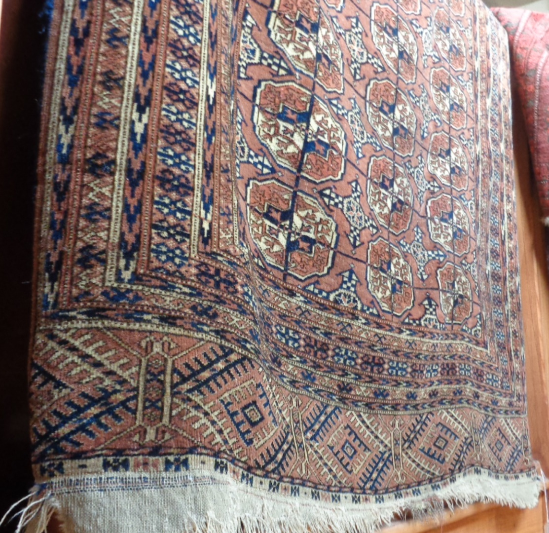 """Lot 7 - Antique Bokhara rug, approx 46"""" x 84"""""""