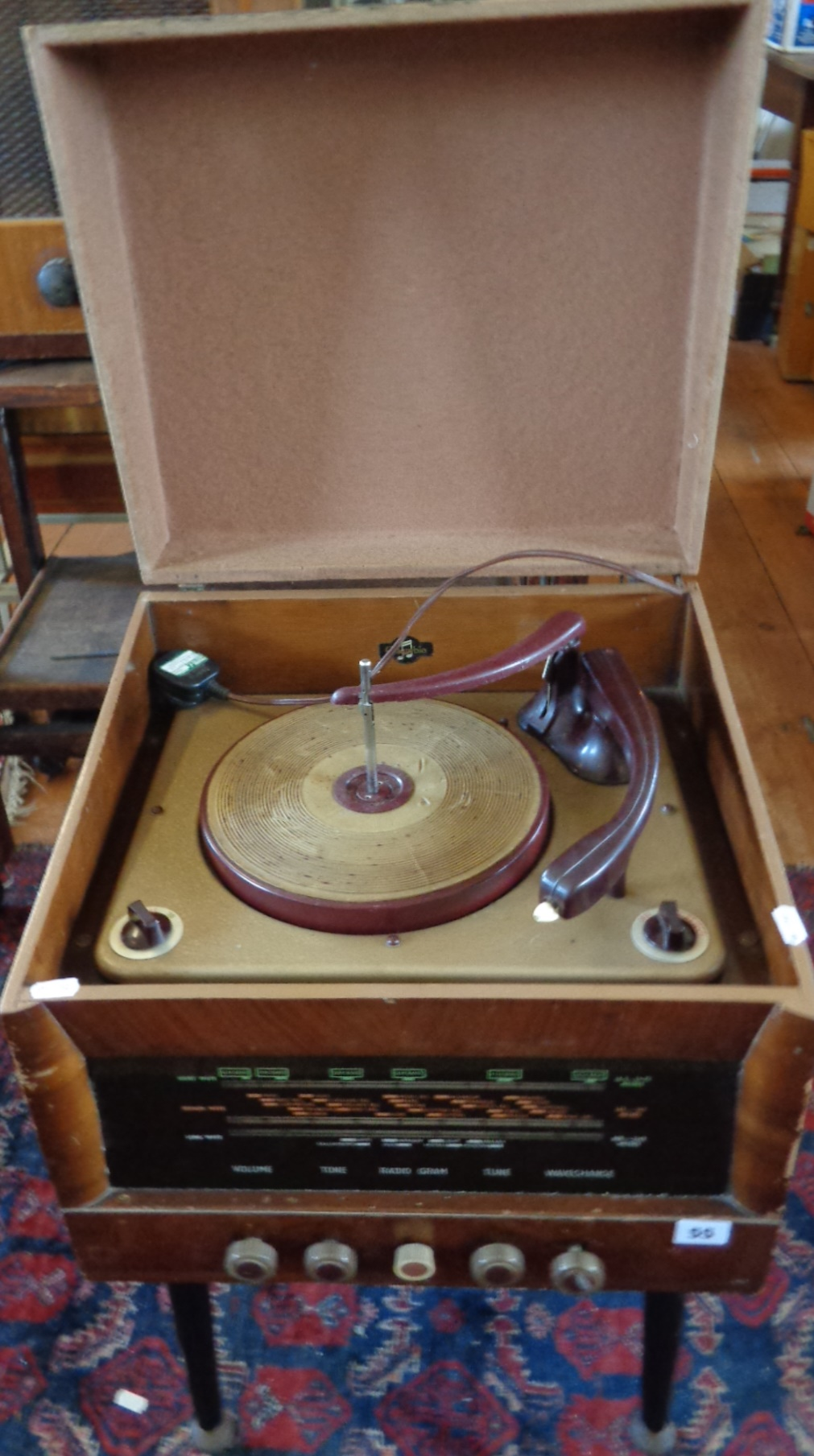 Lot 55 - 1940s/50s Columbia radiogram on Dansette type legs