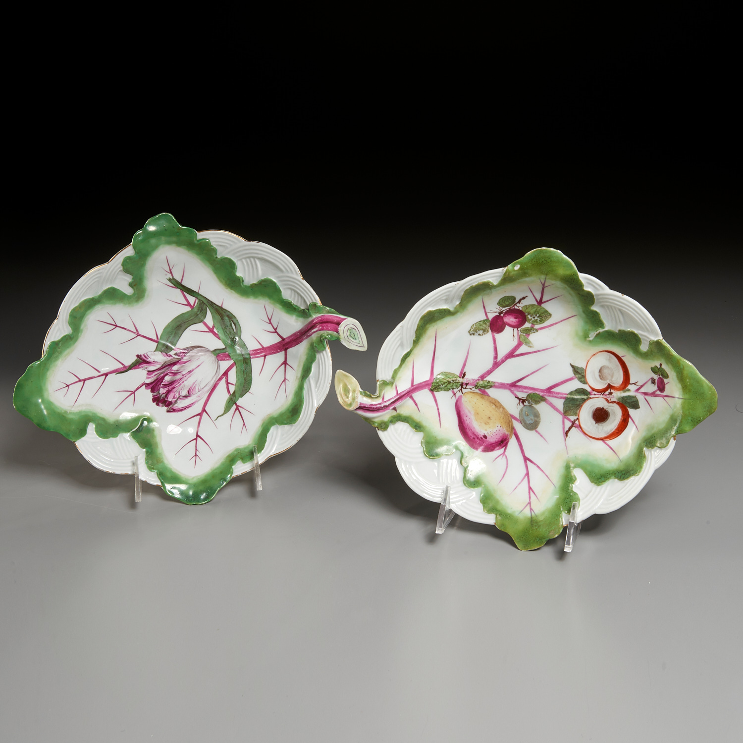 Lot 3 - Near Pair Chelsea Porcelain Leaf and Basket Dishes