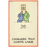 WWII Poster Careless Talk Fougasse Strictly between you and me