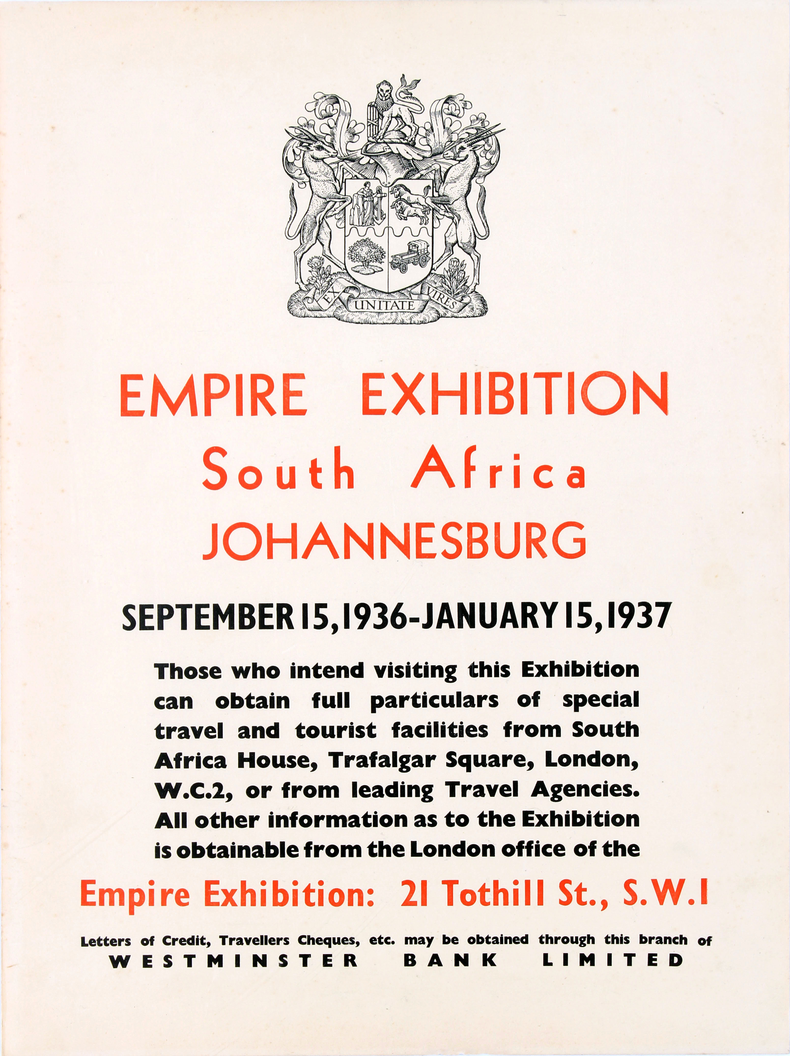 Advertising Poster Empire Exhibition South Africa Johannesburg