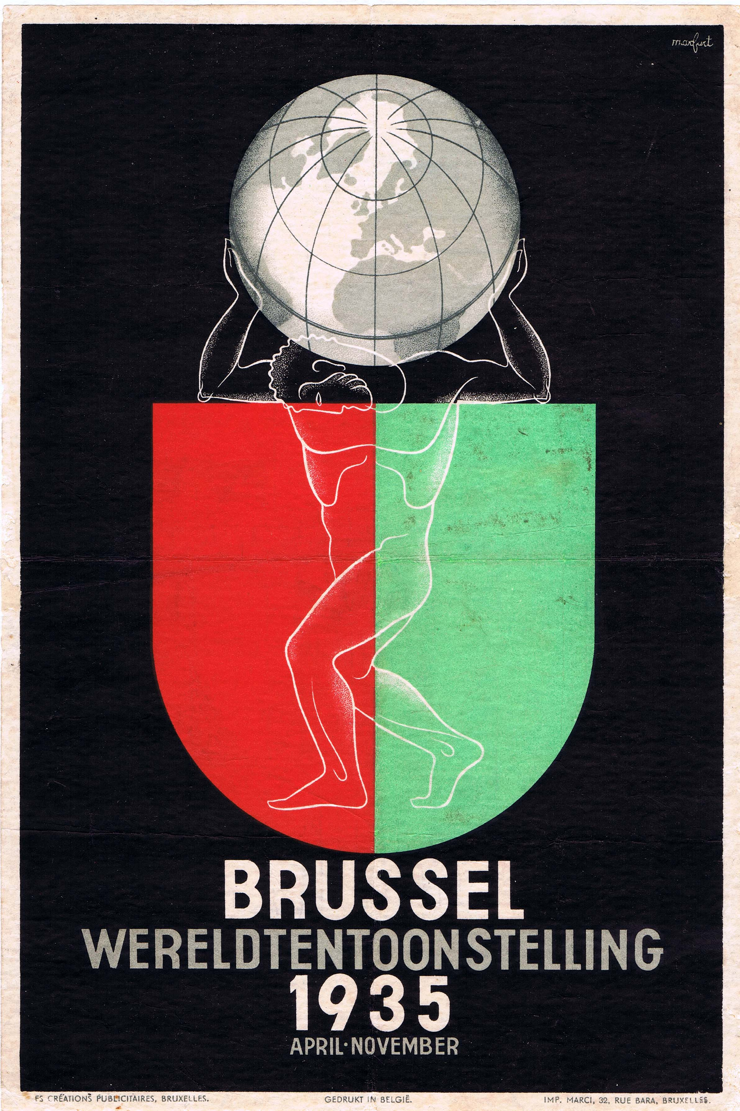 Advertising Poster Brussels 1935 Expo Art Deco
