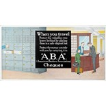 Advertising Poster American Bankers Association Cheques Travel