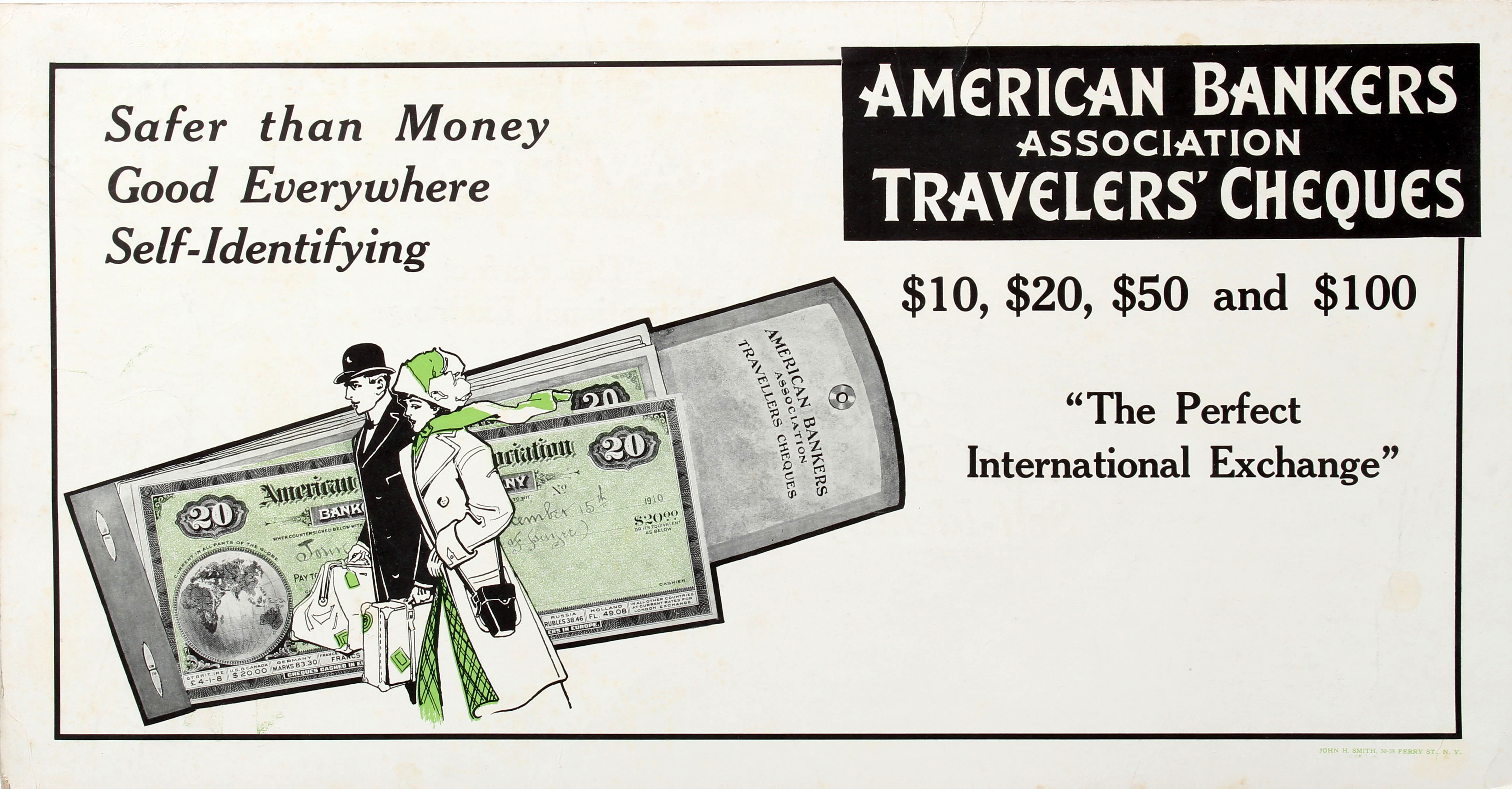 Advertising Poster American Bankers Association Travelers Cheques Couple - Image 2 of 2