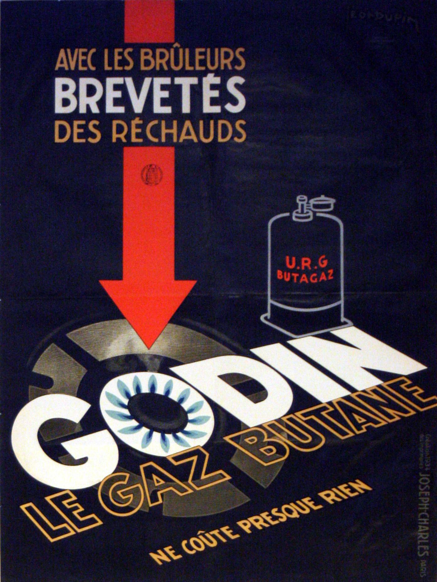 Advertising Poster Godin Butane Gas Leon Dupin Art Deco