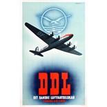 Advertising Poster DDL Danish Air Lines Bjorvig Douglas DC 6