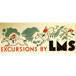 Advertising Poster Excursions by LMS London, Midland and Scottish Railway