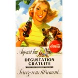 Advertising Poster Coca Cola Lady With Dog