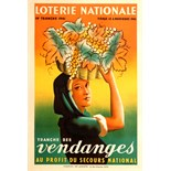 Advertising Poster Loterie Nationale Wine Harvest