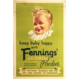 Advertising Poster Keep Baby Happy with Fennings' Children's Powder