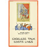WWII Poster Careless Talk Fougasse Gentlemens Club strictly between