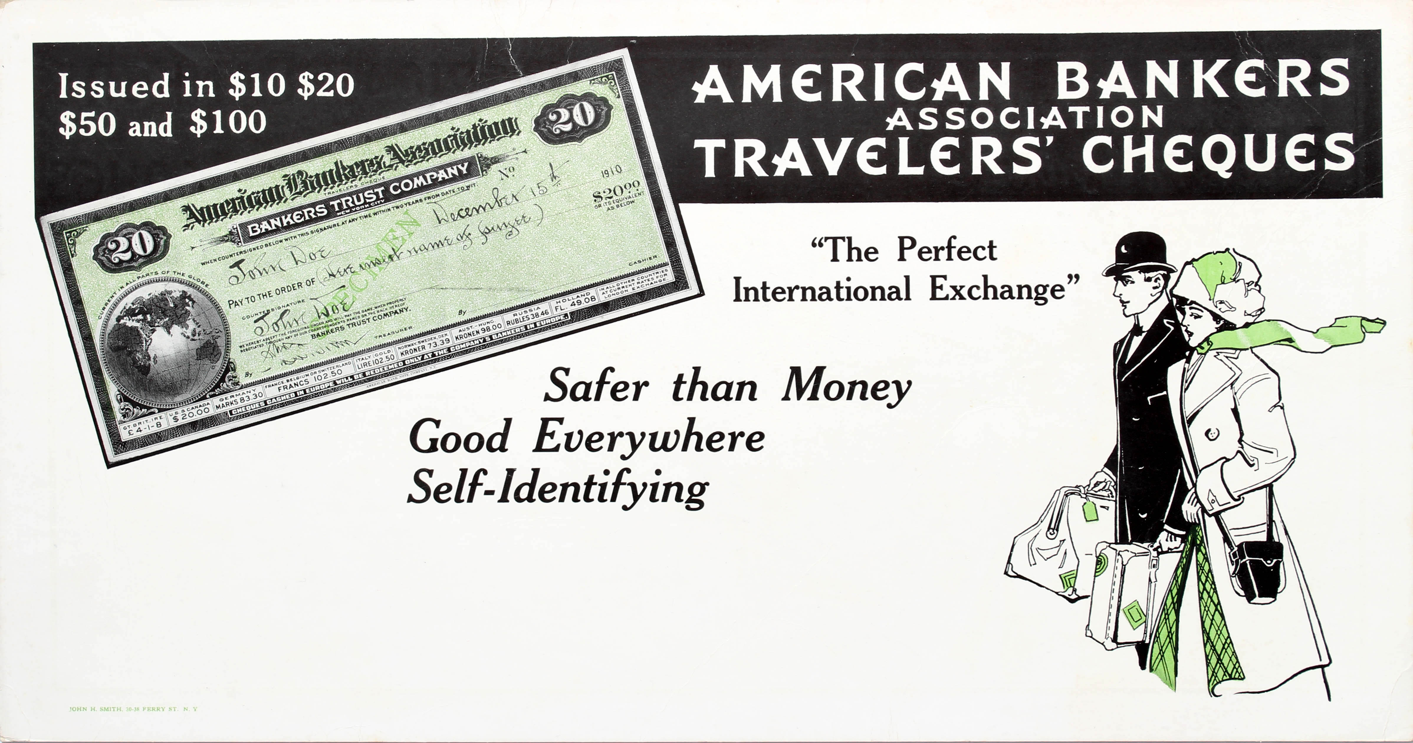 Advertising Poster American Bankers Association Travelers Cheques Couple