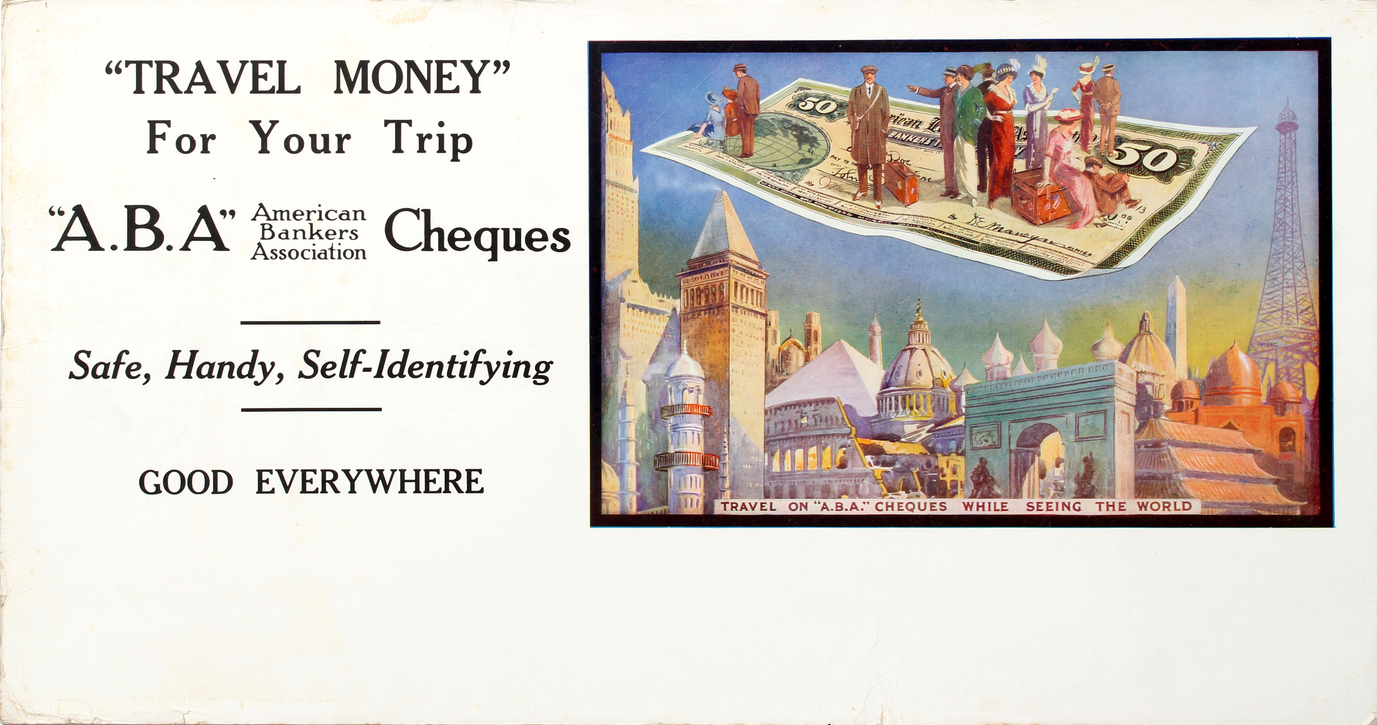 Advertising Poster American Bankers Association Travel Money For Your Trip