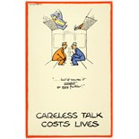 WWII Poster Careless Talk Fougasse Train Carriage