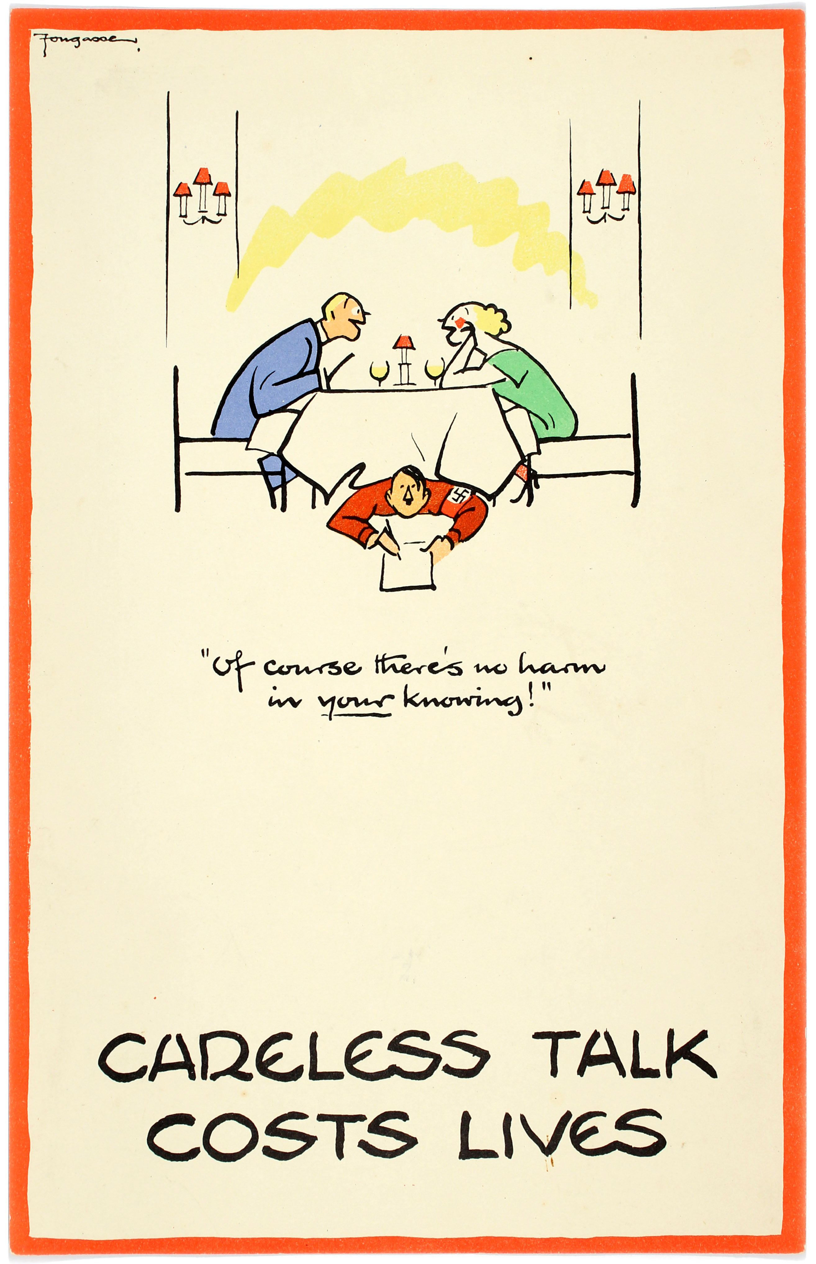 WWII Poster Careless Talk Fougasse Restaurant Of course theres no harm