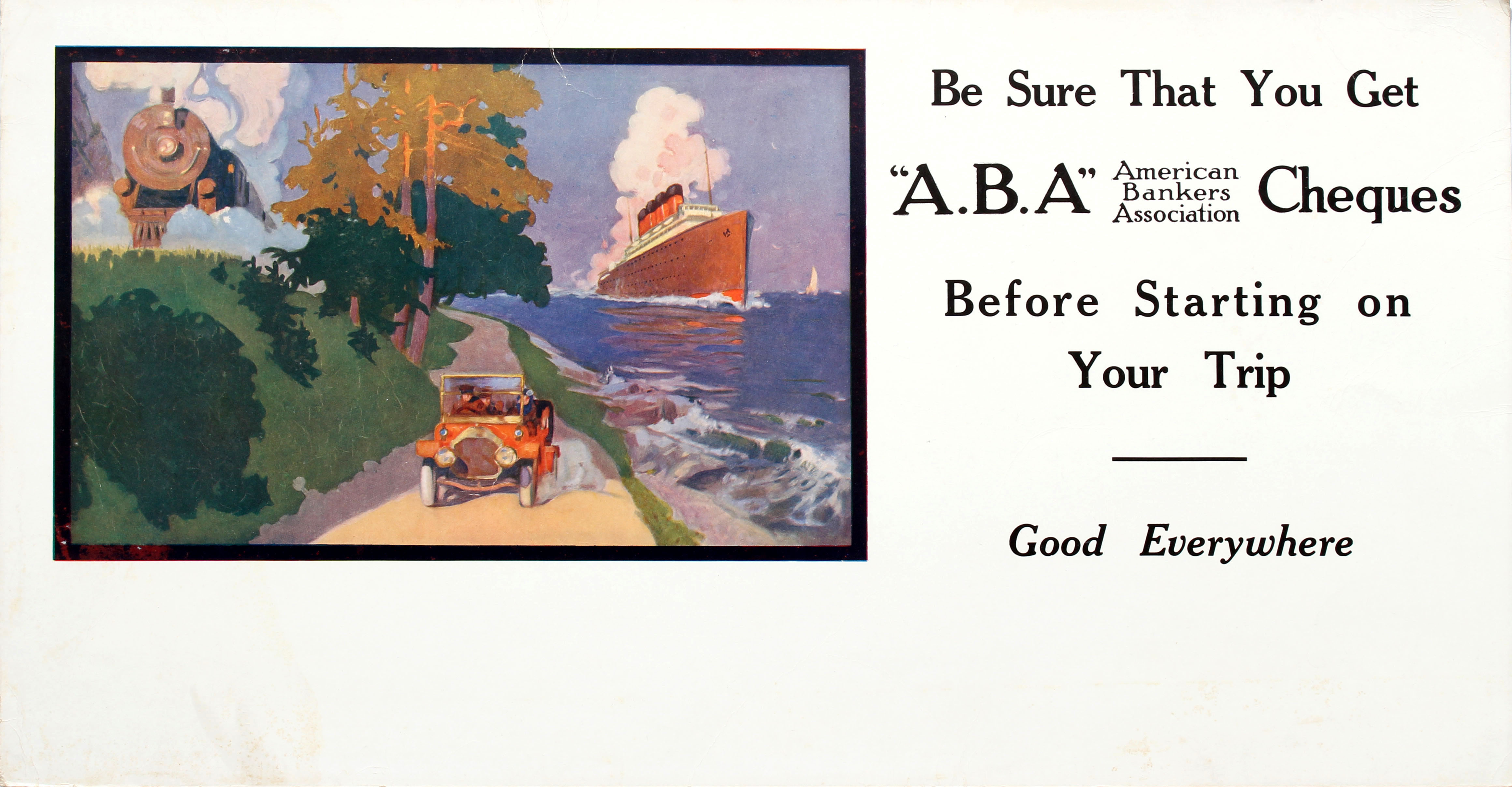 Advertising Poster American Bankers Association ABA Cheques