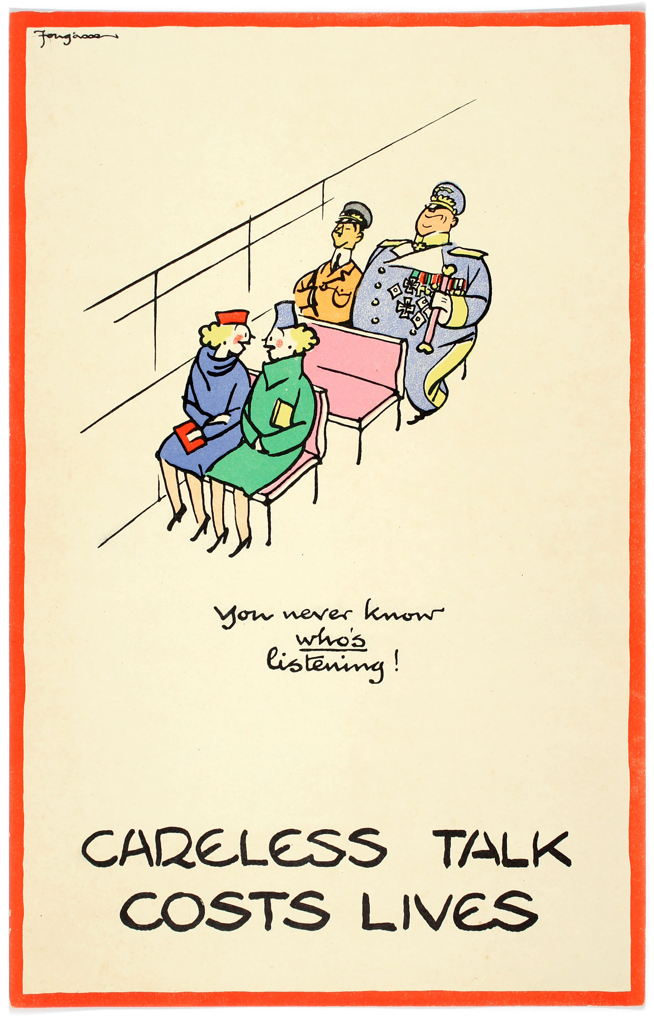 WWII Poster Careless Talk Fougasse Bus You never know