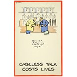 WWII Poster Careless Talk Fougasse Pub Bar Be careful what you say