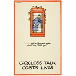 WWII Poster Careless Talk Fougasse Telephone Booth Hitler