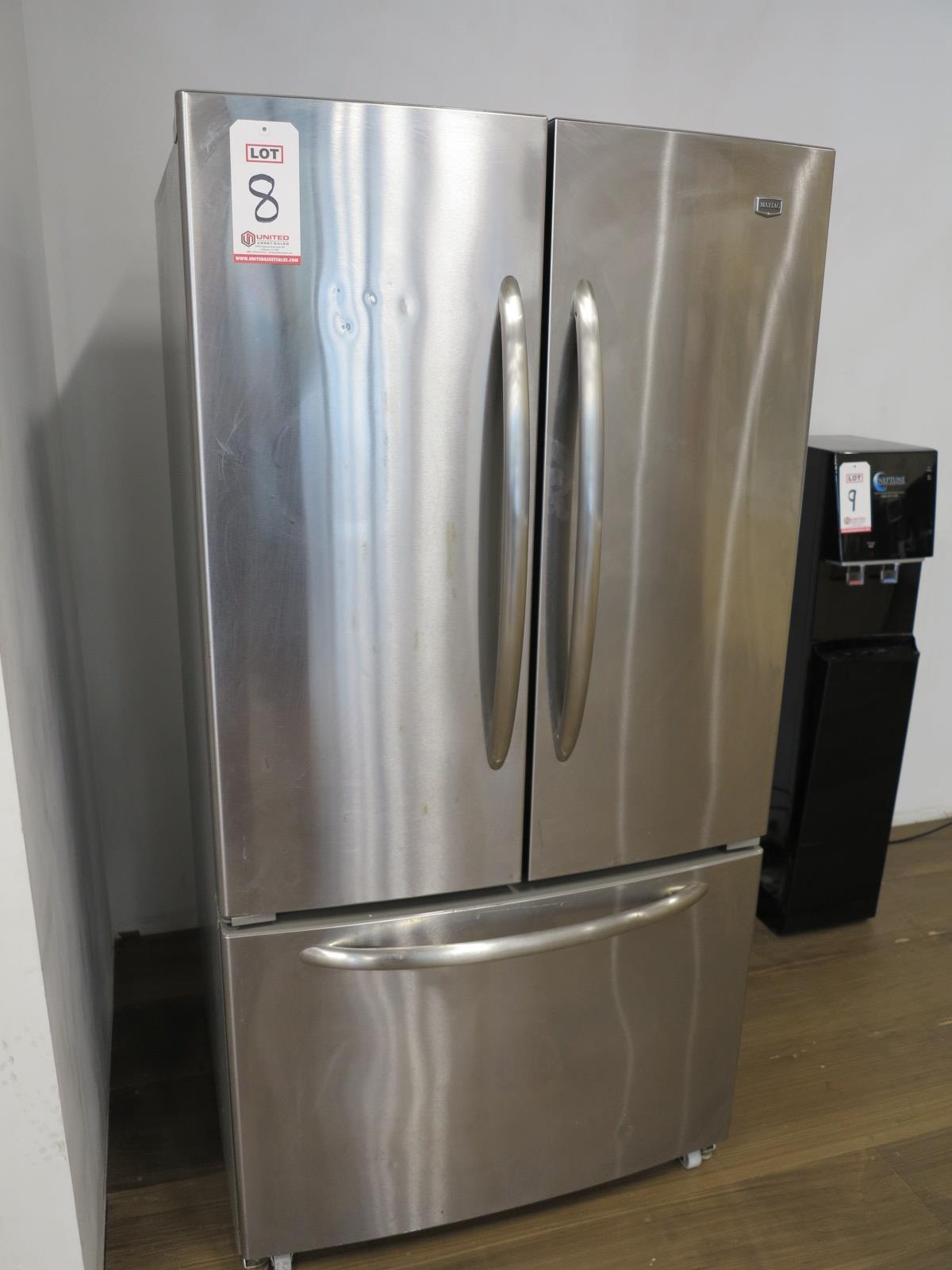 Lot 8 - MAYTAG STAINLESS STEEL REFRIGERATOR/FREEZER