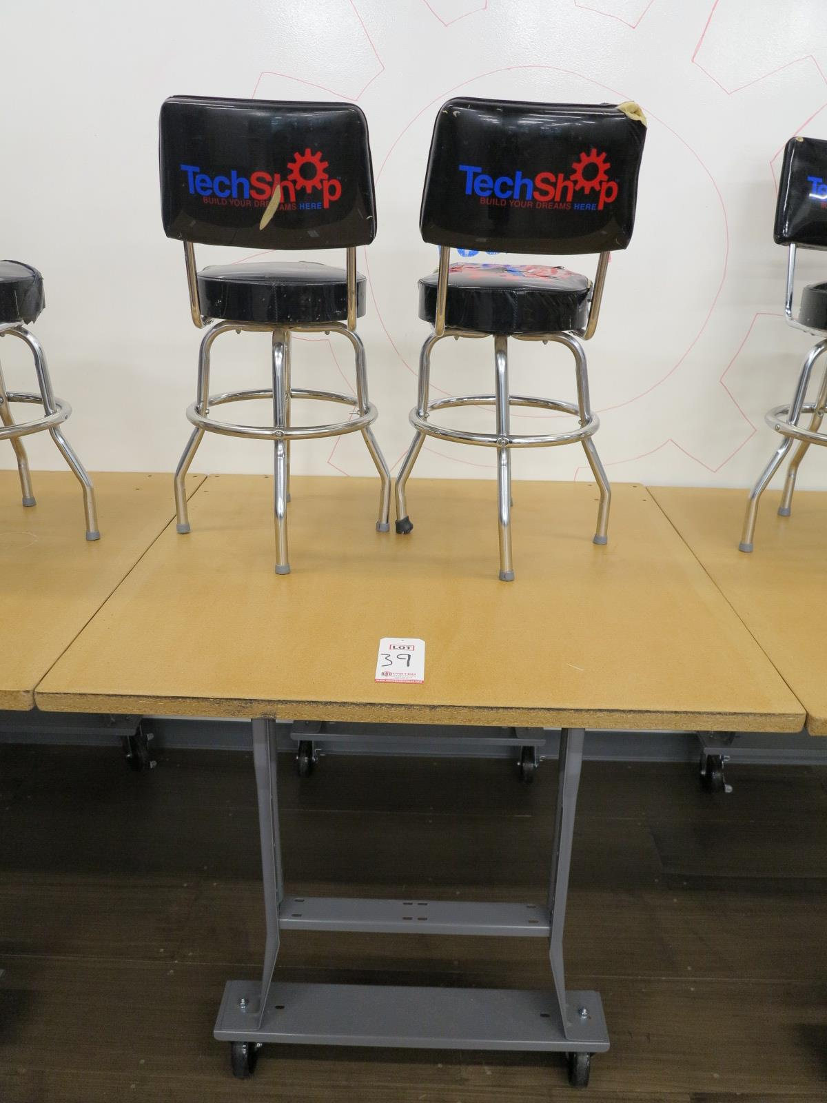 """Lot 39 - LOT - 48"""" X 48"""" ROLLING TABLE W/ (2) STOOLS"""