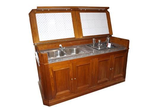 Mobile da cucina in pino pece completo di lavello, piano cottura ...