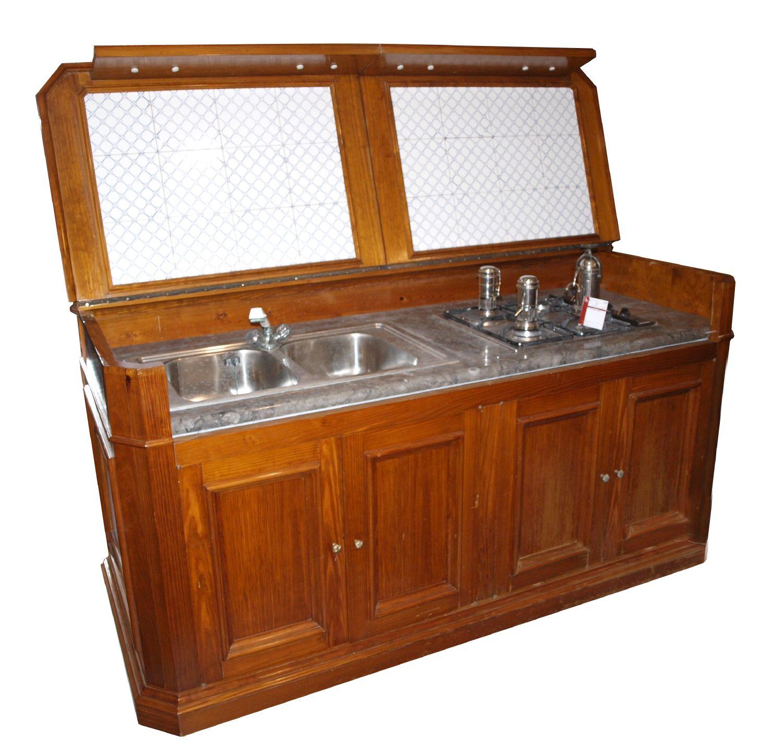 Mobile da cucina in pino pece completo di lavello piano cottura cappa e forno xx secolo misur - Mobile piano cottura ...