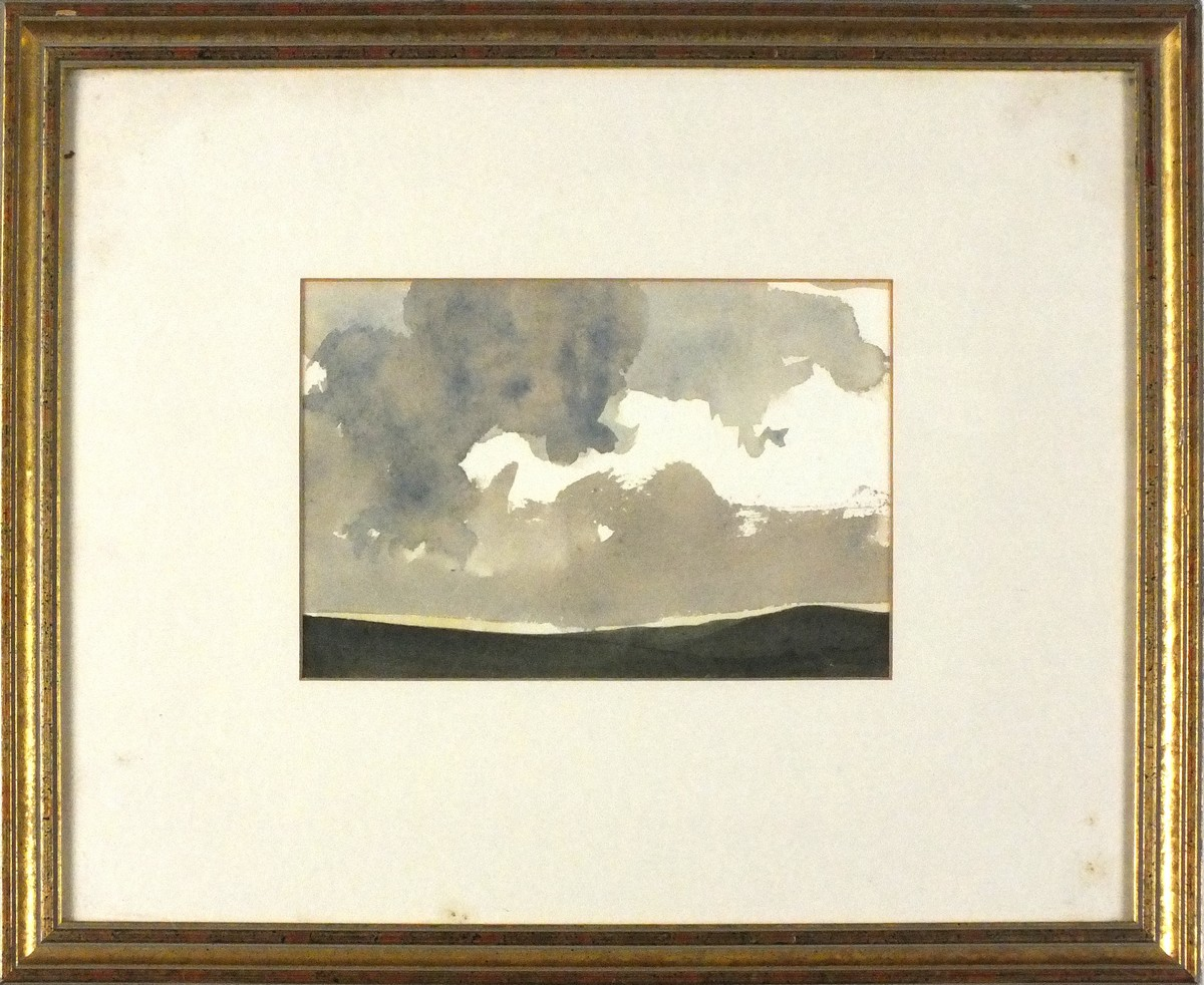 Lot 11 - John MILLER (British 1931-2002) Landscape - Storm Clearing, Watercolour, Signed & dated '73 in
