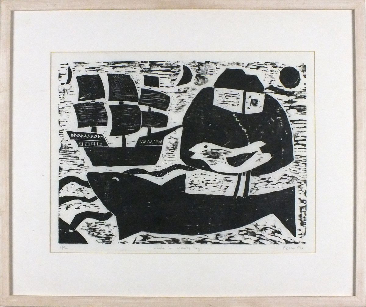 Lot 28 - Peter FOX (British b.1952) Whale in Mounts Bay, Woodcut, Titled & signed verso, Titled, Numbered