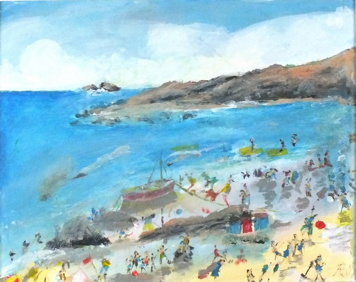 Lot 58 - Roy DAVEY (British b.1946) Summer Fun - Figures on a Beach, Acrylic on canvas board, Signed ROY