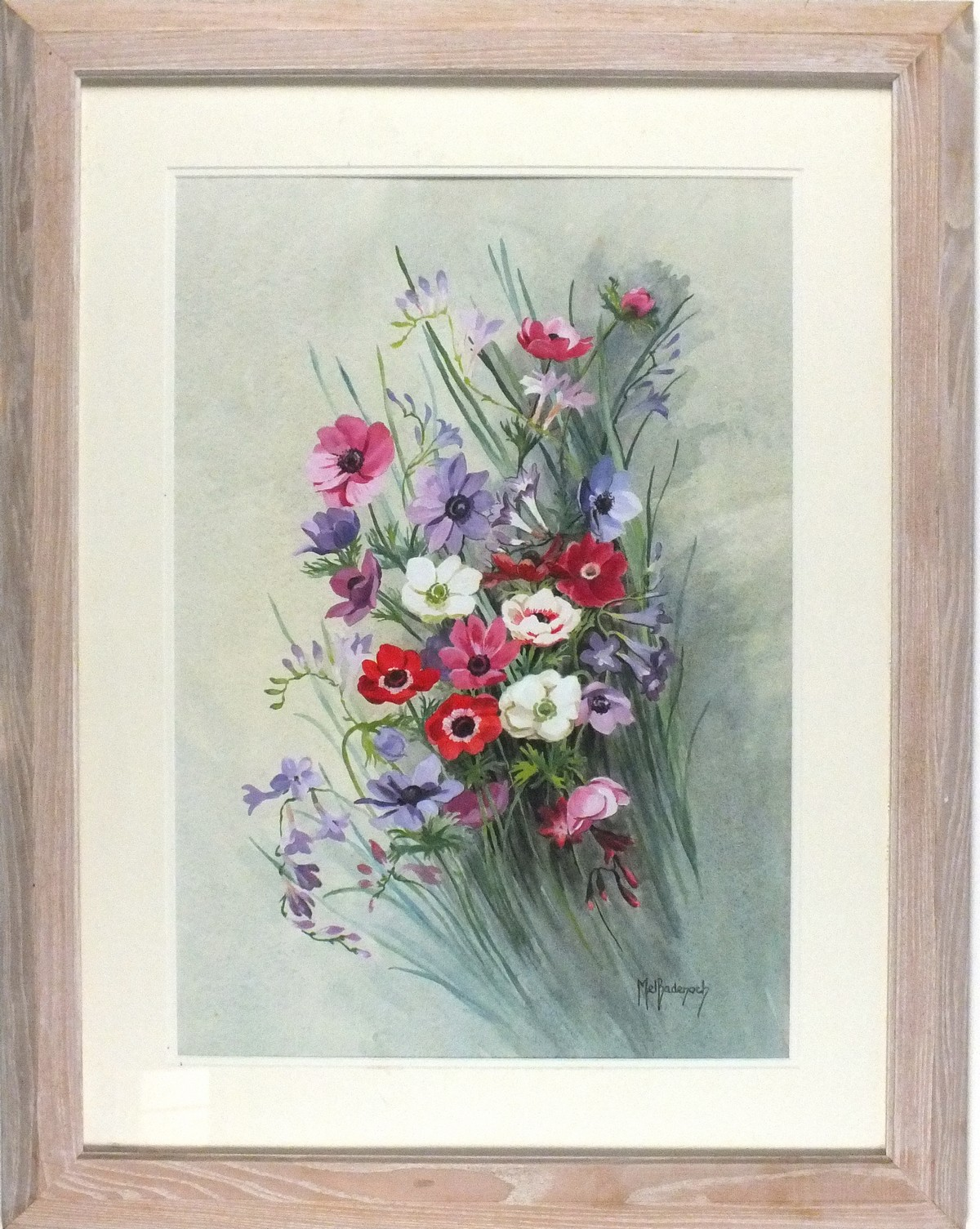 """Lot 37 - Mel BADENOCH (20th Century British) Summer Flowers, Watercolour, Signed lower right, 21"""" x 14.5"""" ("""