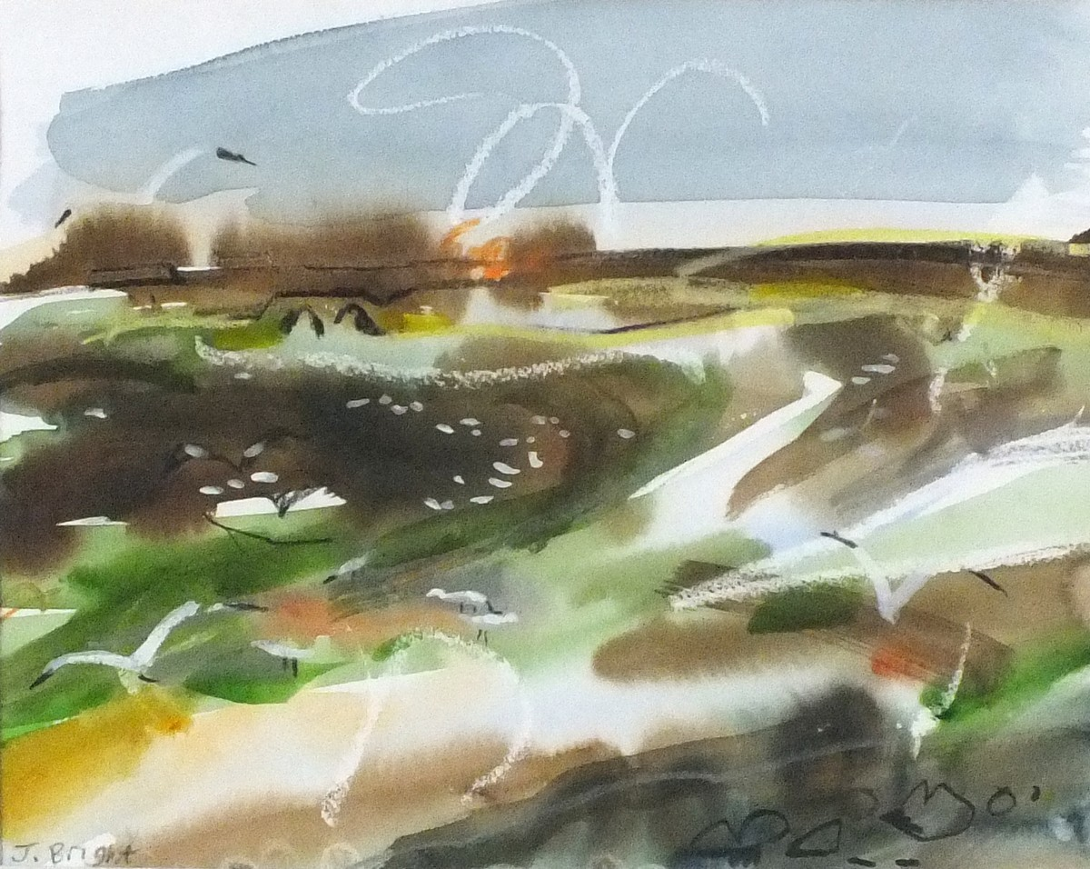 Lot 44 - Jessica BRIGHT (British b. 1950) Hayle Estuary 3, Mixed media, Signed lower left, signed, titled and
