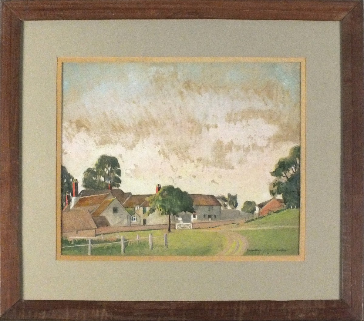 "Lot 43 - Donald HUGHES (British 1881-1970) Farmstead on a Village Green, pastel, Signed lower right, 11"" x"