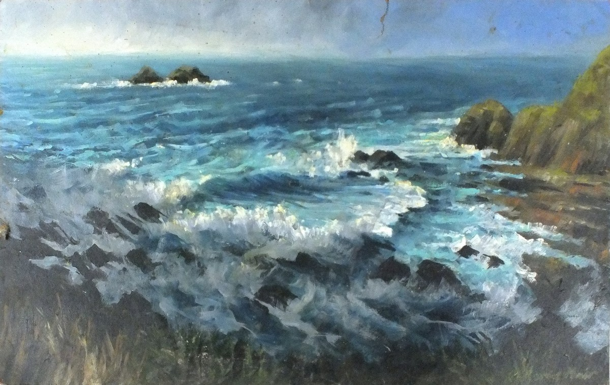 "Lot 31 - 20th Century English School Cornish Cove, Oil on board, 21.25"" x 36.25"" (54cm x 92cm)"