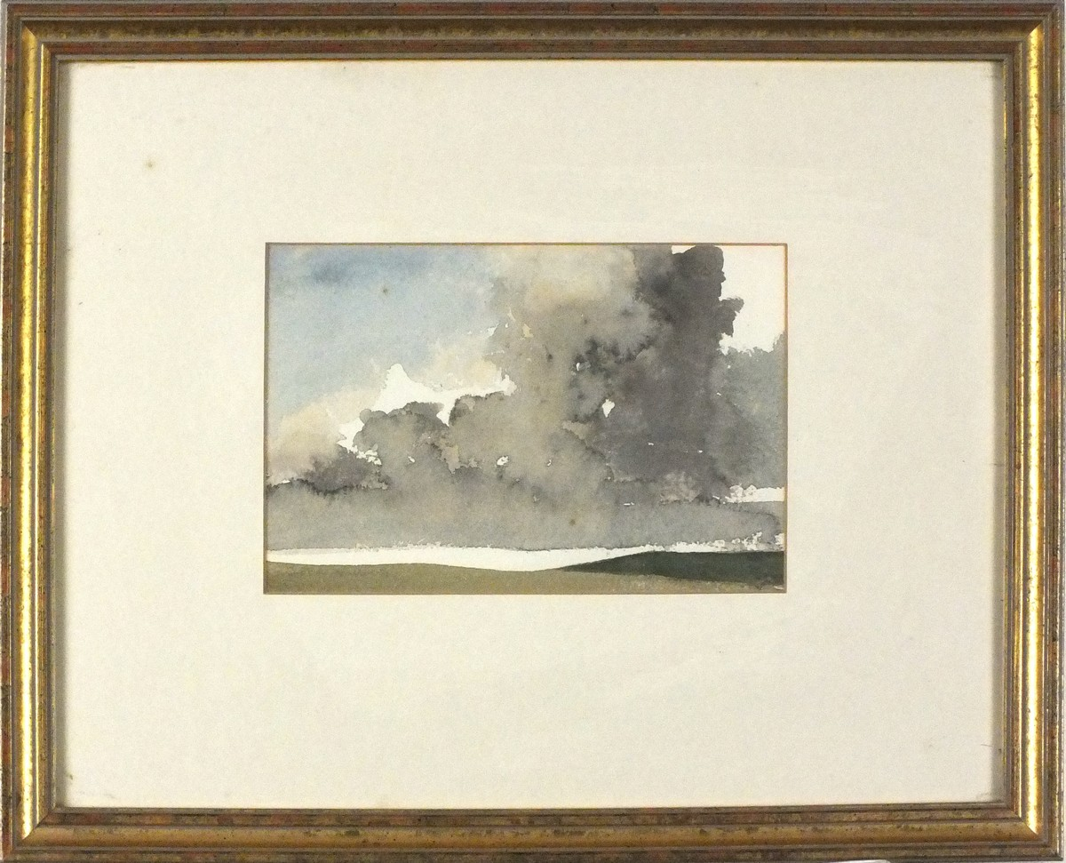 Lot 10 - John MILLER (British 1931-2002)Landscape - Storming Approaching, Watercolour, Signed & dated '72 in