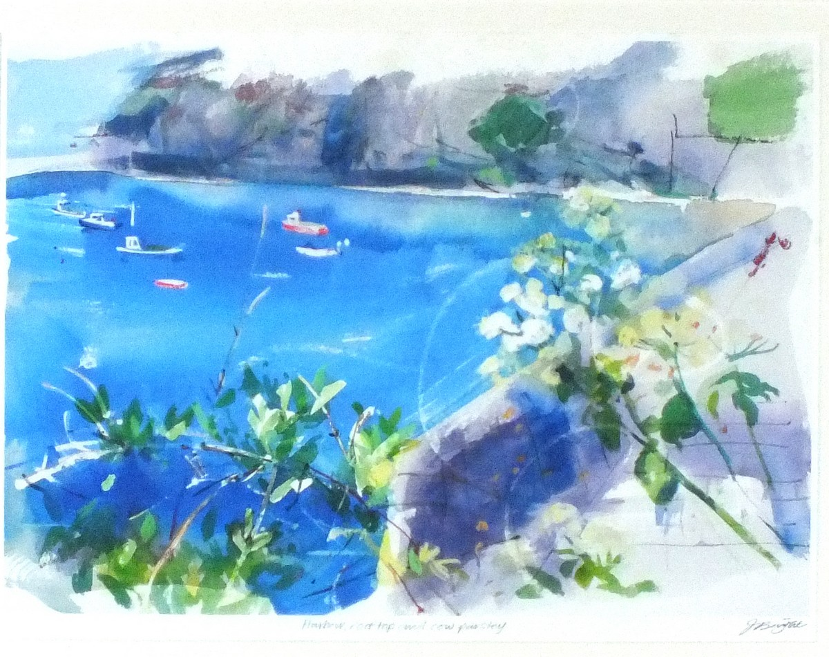 Lot 38 - Jessica BRIGHT (British b.1950)Harbour Rooftop and Cow Parsley, Giclée print, Inscribed, Signed